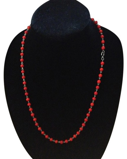 Preload https://item5.tradesy.com/images/unknown-vintage-silver-tone-red-bead-necklace-1016574-0-0.jpg?width=440&height=440