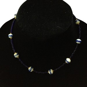 Other Vintage white cobalt striped gold tone bead short necklace