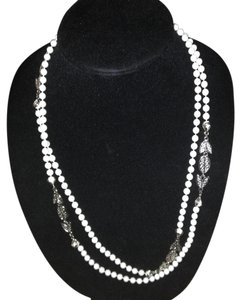 Vintage long double wrap white bead silver tone necklace