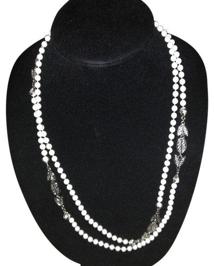 Preload https://item5.tradesy.com/images/unknown-vintage-long-double-wrap-white-bead-silver-tone-necklace-1016584-0-0.jpg?width=440&height=440