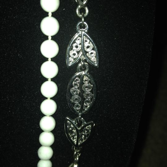 Other Vintage long double wrap white bead silver tone necklace