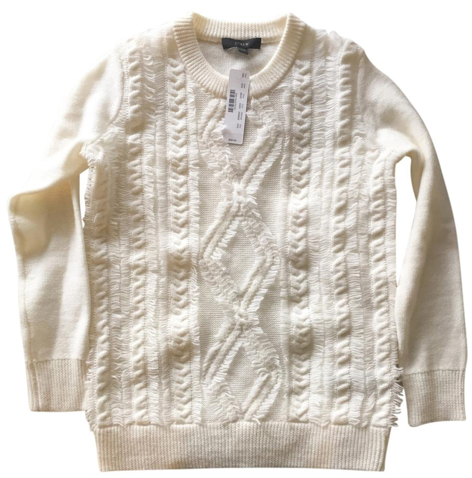 ae50765103682b J.Crew Cable Knit Crewneck With Fringe Sweater Image 0 ...