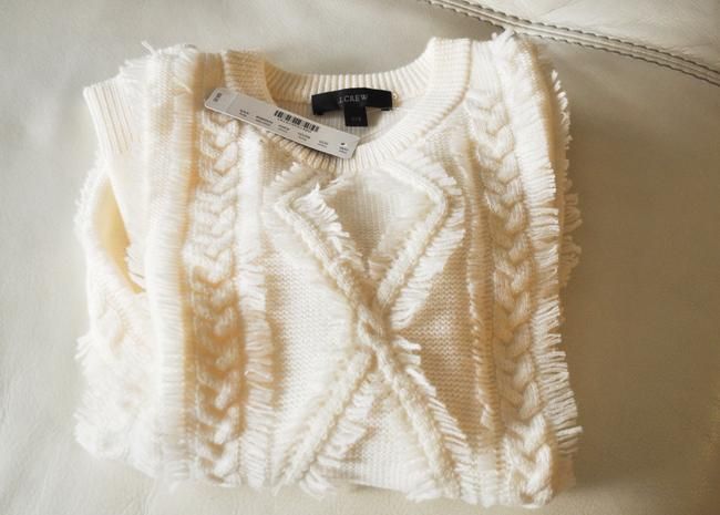 J.Crew Cable Knit Crewneck With Fringe Sweater