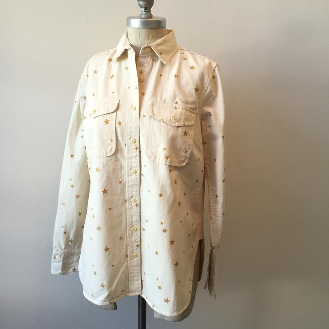 J.Crew Sparkling Metallic Gold Stars Cotton Canvas Button Down Shirt Ecru