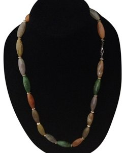 Vintage green orange brown grey gold tone necklace