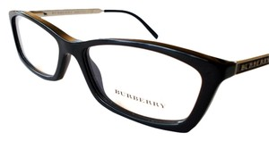 Burberry Eyeglasses Women's Black Silver Optical Frame New with Case