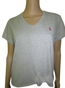Lauren by Ralph Lauren Sporty Feminine T Shirt Heather Gray with Pink logo