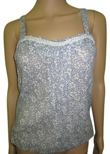 Old Navy Flirty Floral Feminine Sheer Cotton Lace Trim Top Navy and Baby Blue