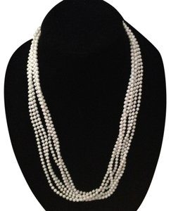 Vintage white (3) strand bead long necklace