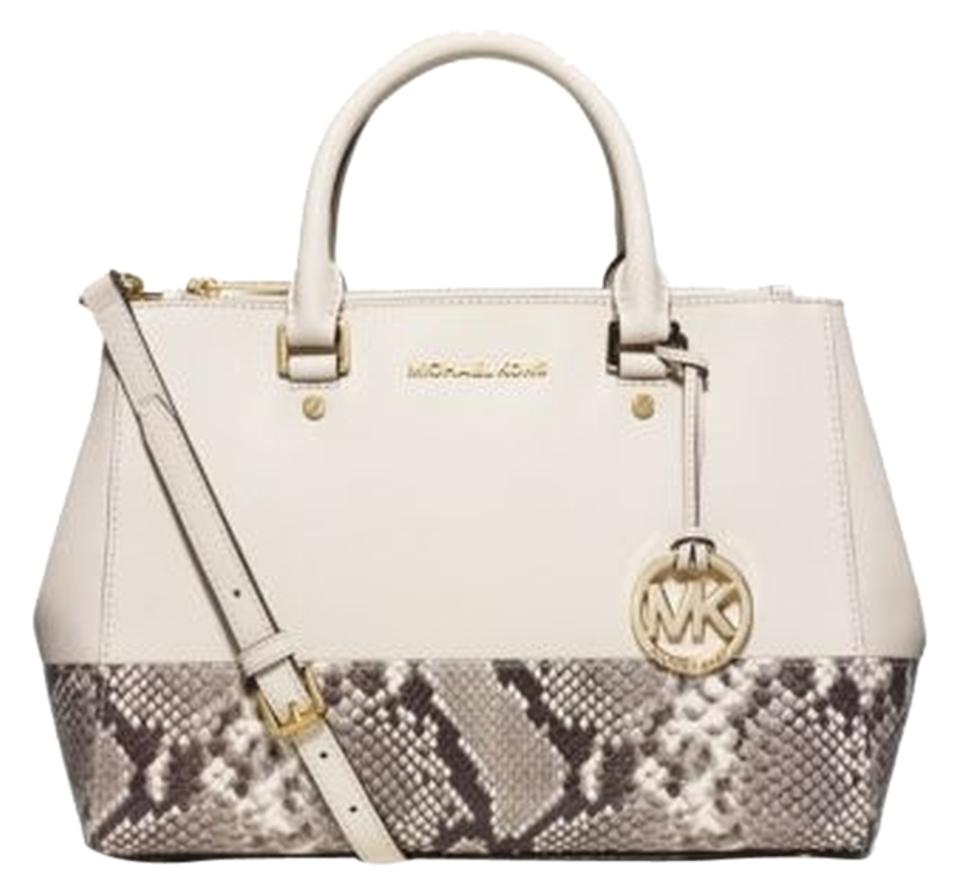 fa13db0866be Michael Kors Hobo Luggage Leather Sutton Saffiano Leather Satchel in  ECRU NATURAL Image 0 ...