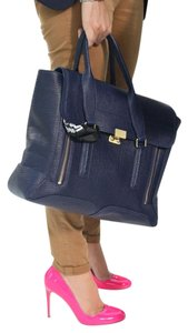 3.1 Phillip Lim Leather Shark Carry All Satchel in Navy