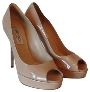 Jimmy Choo Patent Leather Tan Peep Toe Nude patent Platforms