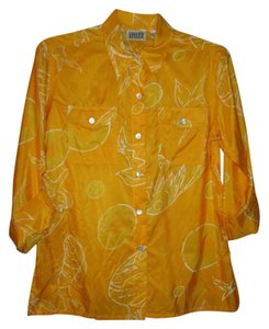 Chico's Silk Three-quarter Sleeve Top Yellow with white pattern