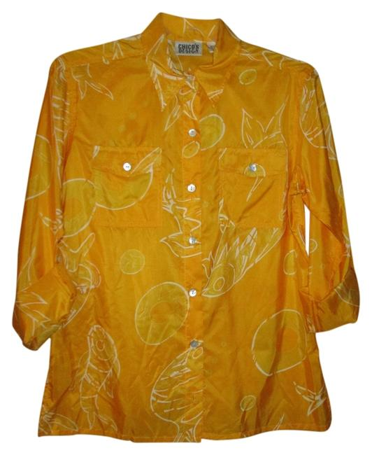 Preload https://item2.tradesy.com/images/chico-s-yellow-with-white-pattern-design-blouse-size-4-s-10167466-0-1.jpg?width=400&height=650