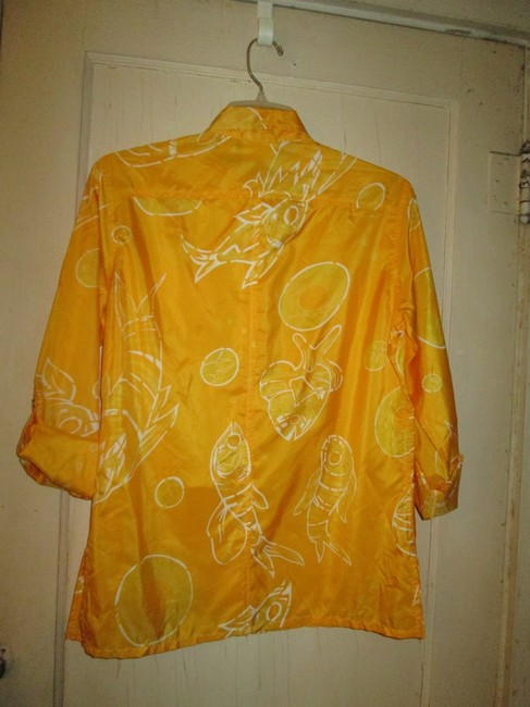 Chico's Silk Three-quarter Sleeve Design Top Yellow with white pattern