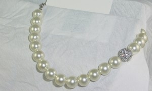 Bold Pearl Necklace With Austrian Crystal Fireball