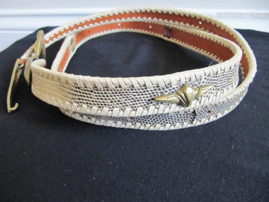 Robert Christoph ROBERT CHRISTOPH Snakeskin Belt Brass Buckle Leather Whipstiching