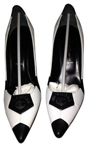 Casadei High Heels Leather Italian Logo Black and White Pumps