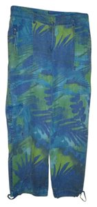 Chico's Linen 5 Pockets Blue/Green Capris Blue and green pattern