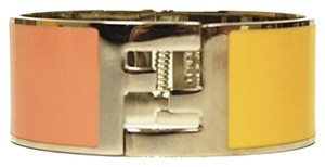 Fendi Fendi Bangle Palladium Silver Enamel Pink & Yellow Cuff Bracelet
