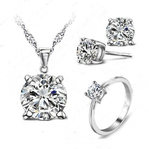 3pc White Topaz Solitaire Jewelry Set Free Shipping
