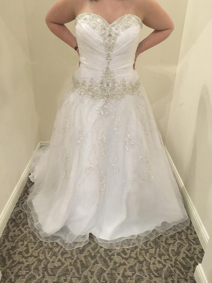 Allure Bridals White Silver Tulle 8769 Formal Wedding Dress Size 28 ...