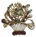 Lucien Piccard Lucien Piccard 14K Gold Emerald,Garnet,Turquoise and Pearls Brooch/ Pendant Image 0