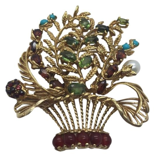 Preload https://item2.tradesy.com/images/lucien-piccard-multicolor-14k-gold-emerald-garnet-turquoise-and-pearls-brooch-pendant-earrings-10169986-0-3.jpg?width=440&height=440