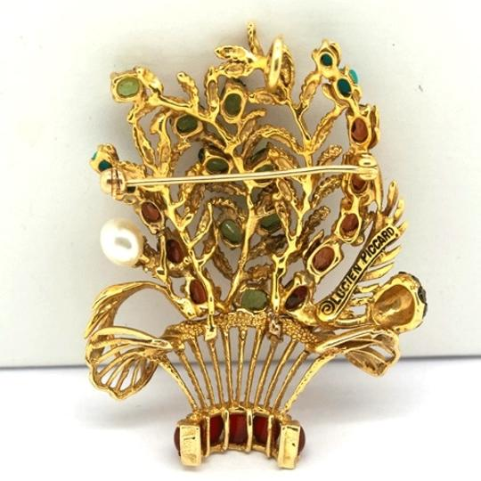 Lucien Piccard Lucien Piccard 14K Gold Emerald,Garnet,Turquoise and Pearls Brooch/ Pendant Image 1