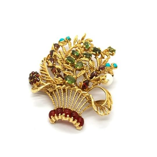 Lucien Piccard Lucien Piccard 14K Gold Emerald,Garnet,Turquoise and Pearls Brooch/ Pendant