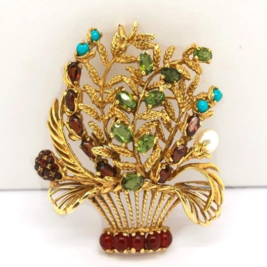 Lucien Piccard Lucien Piccard 14K Gold Emerald,Garnet,Turquoise and Pearls Brooch/ Pendant Image 3