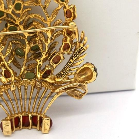 Lucien Piccard Lucien Piccard 14K Gold Emerald,Garnet,Turquoise and Pearls Brooch/ Pendant Image 4