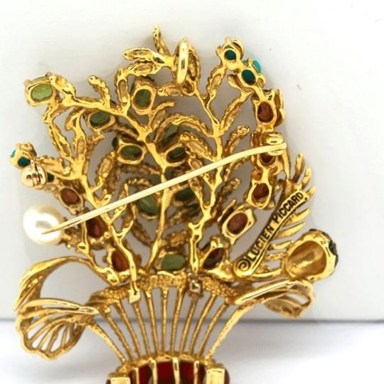 Lucien Piccard Lucien Piccard 14K Gold Emerald,Garnet,Turquoise and Pearls Brooch/ Pendant Image 5
