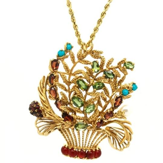 Lucien Piccard Lucien Piccard 14K Gold Emerald,Garnet,Turquoise and Pearls Brooch/ Pendant Image 6