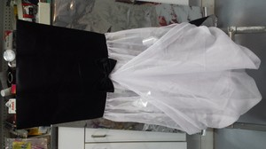 Black Satin Top White Chiffon Bot W Bow Tie