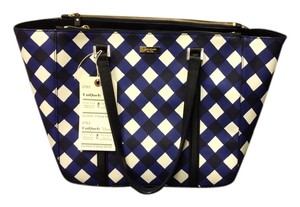 Kate Spade Navy-royal Blue-white Tote in Checkered pattern Blue, navy, and white. has a zipper to close