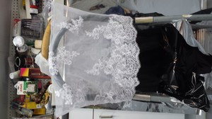 White Lace Top Black Chiffon Bottom With Brooch