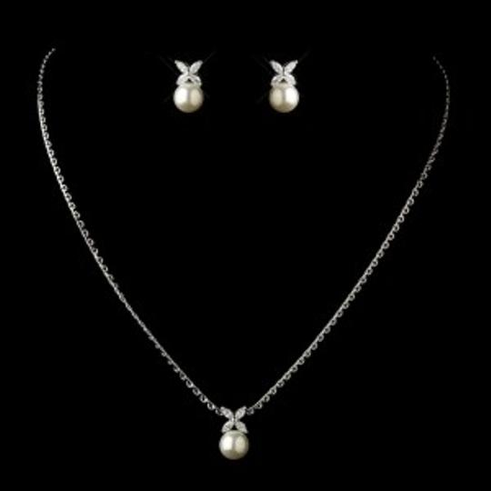 Elegance by Carbonneau Silver/Diamond White Pearl and Marquise Cz Jewelry Set