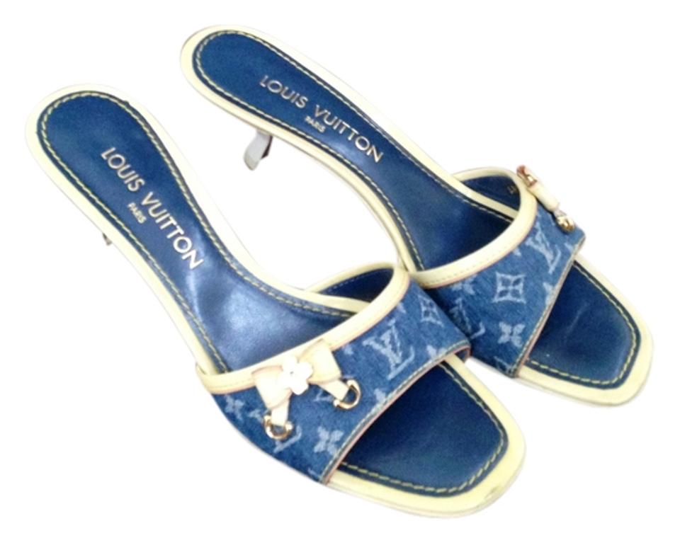 2a0384544e0f Louis Vuitton Blue Denim Sandals 38 Mules Slides Size US 8 - Tradesy