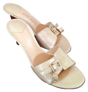 Louis Vuitton Leather Dice Sandal Heel Mule Beige Sandals