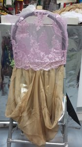 Pink Lace Top Gold Chiffon Bottom With Brooch