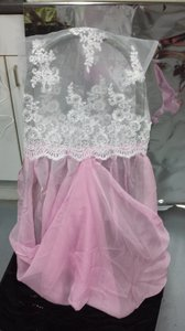 White Lace Top Pink Chiffon Bottom With Brooch