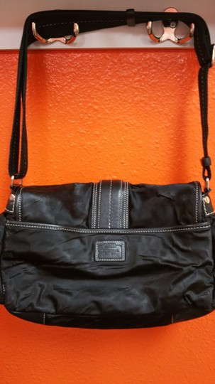 Coach Silver Leather Nylon Shoulder Bag