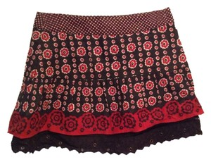 Free People Mini Skirt Red and black