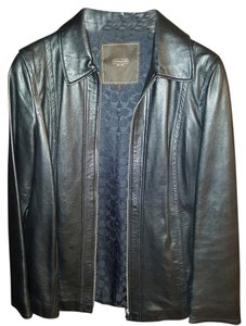 Coach Leather Zip black Leather Jacket
