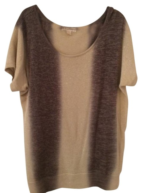 Item - And Short Sleeve Metallic Thread Brown Multi with Gold Sweater