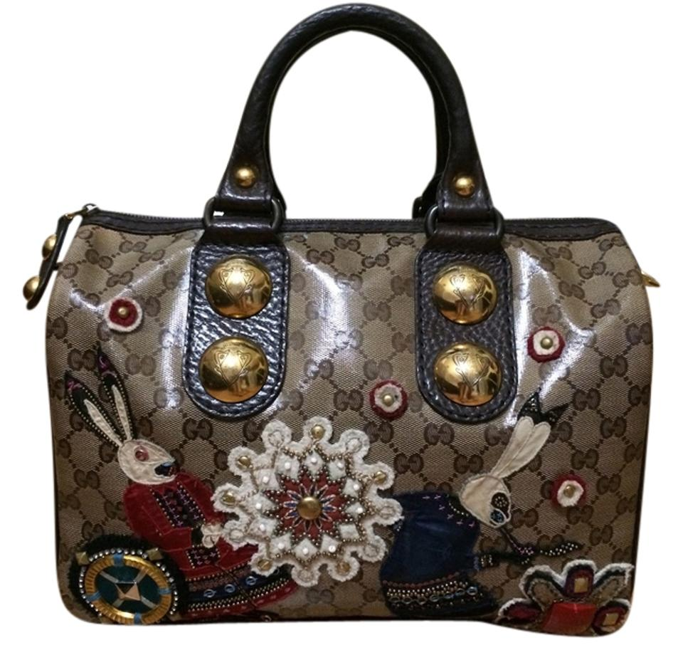 072e98f7d203 Gucci Patent Canvas Babouska Rabbits Applique Boston Beaded Studded Satchel  in tan and brown monogram Image ...