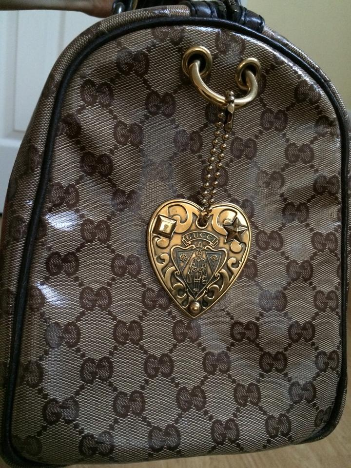 eff0046e0912 Gucci Boston Babouska Rabbits Applique Tan and Brown Monogram Patent Coated  Canvas/Leather Satchel - Tradesy