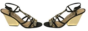 Kate Spade Black & Gold all leather Eiffel Tower Sandals