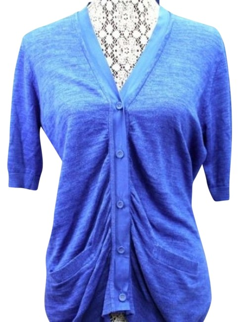 Preload https://img-static.tradesy.com/item/10176679/dkny-blue-buttoned-shirred-knit-s-blouse-size-6-s-0-2-650-650.jpg